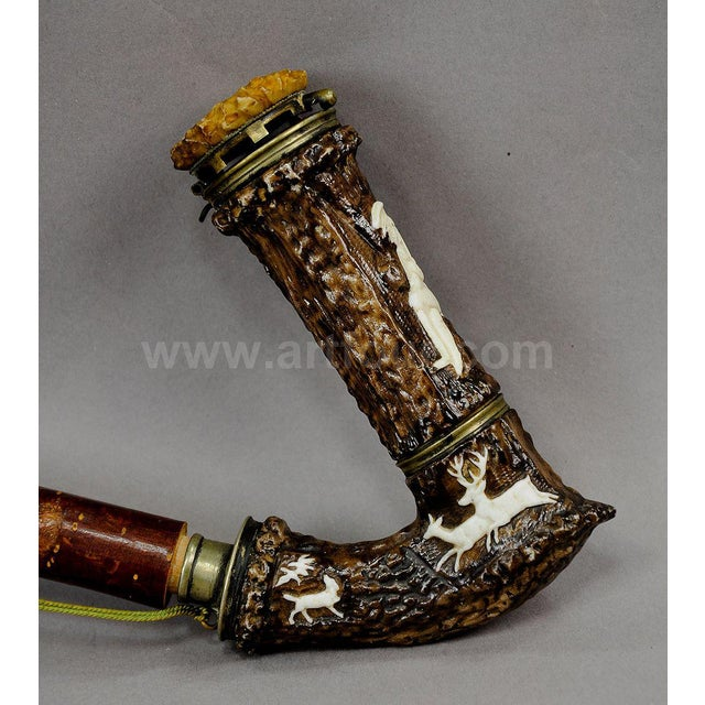 Rare Antique Horn And Porcelain Tobacco Pipe 1880 For Sale - Image 4 of 6