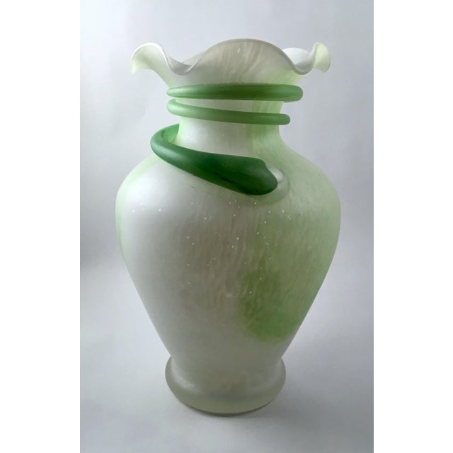 Vintage Kralik Style Glass Vase In Mint Green And White Chairish