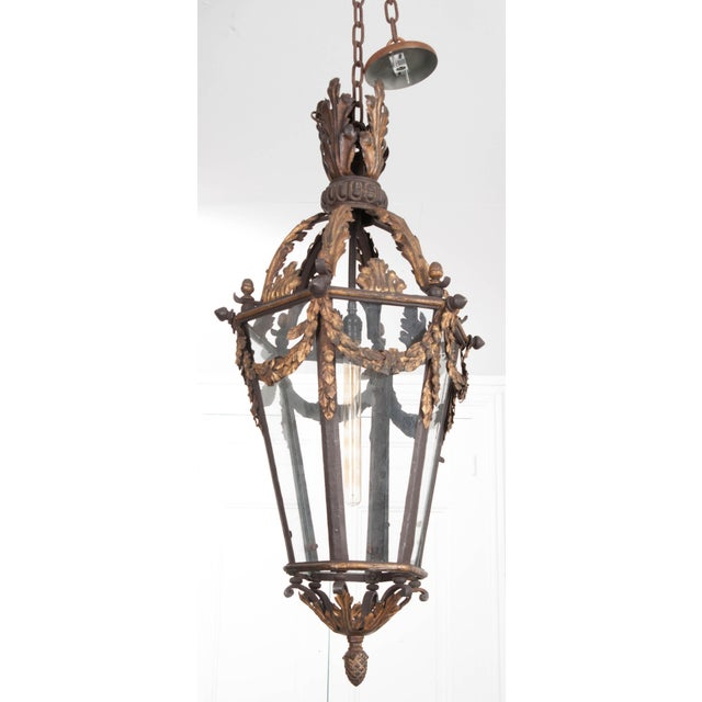 French 19th Century Iron and Gilt-Brass Single-Light Lantern For Sale In Baton Rouge - Image 6 of 13
