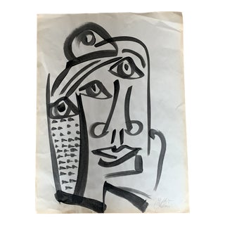 Vintage Mid-Century Peter Robert Keil Abstract Oil Portrait Painting For Sale