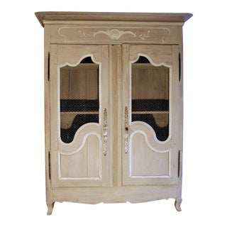 French Provincial Louis XV Style Grey Painted Armoire For Sale