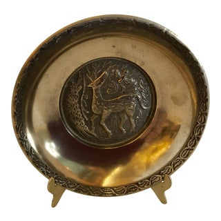 Vintage Brass Deer Motif Plate With Stand