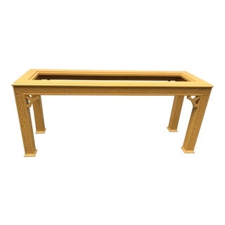 Fretwork Chinoiserie Console Table With Glass Insert For Sale