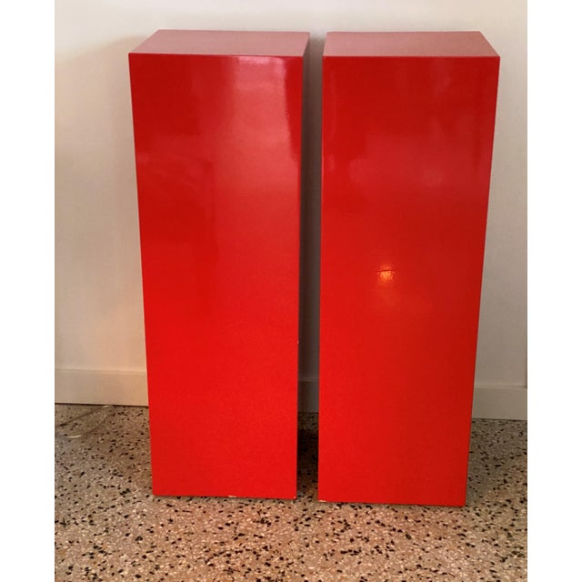 Contemporary Vintage Minimalist Red Pedestals - a Pair For Sale - Image 3 of 13