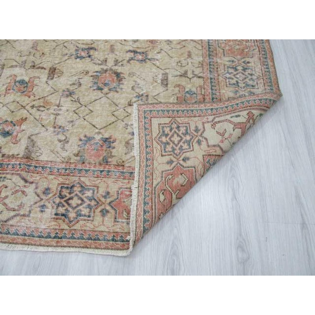 Vintage Turkish Oushak Distressed Rug- 6′7″ × 9′8″ For Sale In Los Angeles - Image 6 of 12