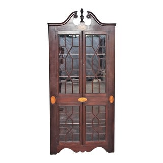 Antique Mahogany Corner China Cabinet For Sale