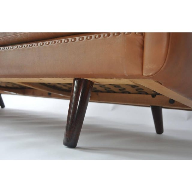 Brown Aage Christiansen Danish Leather Sofa, 1960s For Sale - Image 8 of 9