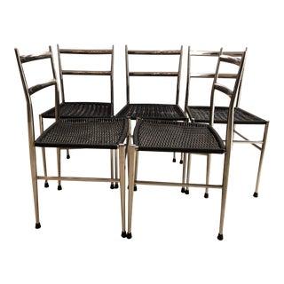 Gio Ponti Leggera Chrome Chairs - Set of 5 For Sale