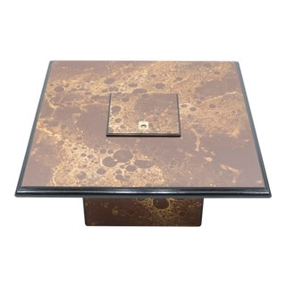 1970s Golden Lacquer and Brass Maison Jansen Bar Coffee Table For Sale