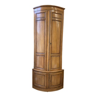 Early 20th Century Two Piece Wood Corner Cabinet For Sale