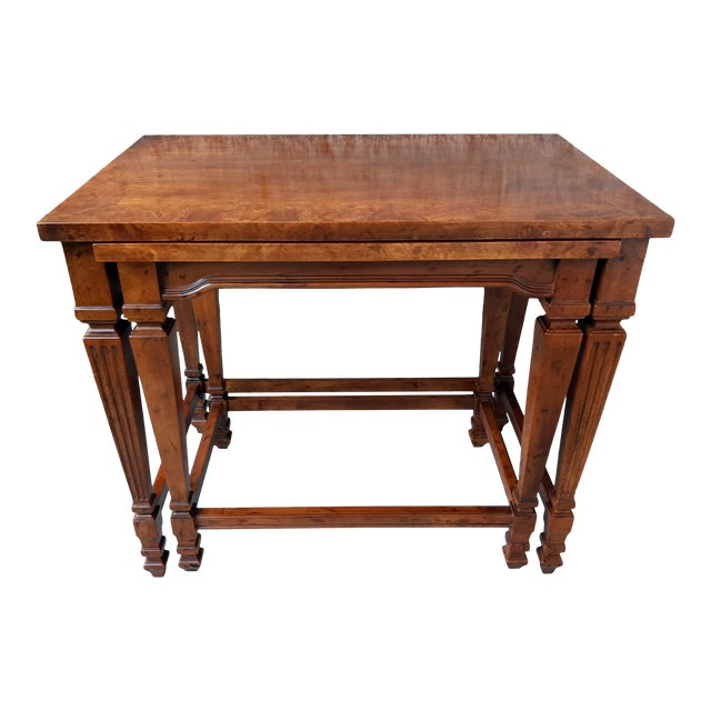Vintage Heritage Furniture Cherry Nesting Tables With Curly Burl Wood Banding, 2 Pieces For Sale