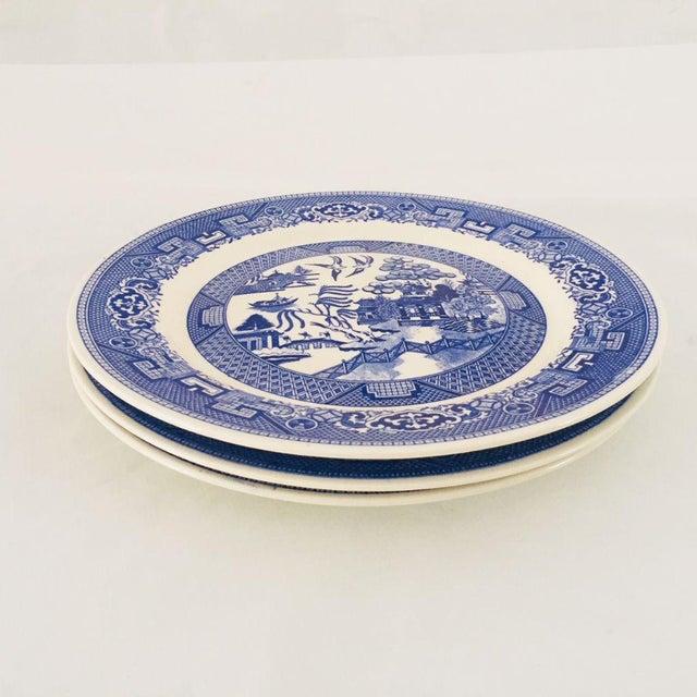 Asian Vintage Blue Porcelain Willow Plates - Set of 3 For Sale - Image 3 of 6