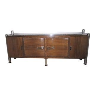 Original French Palisander 4 Door Cabinet With Polished Nickel Hardware For Sale