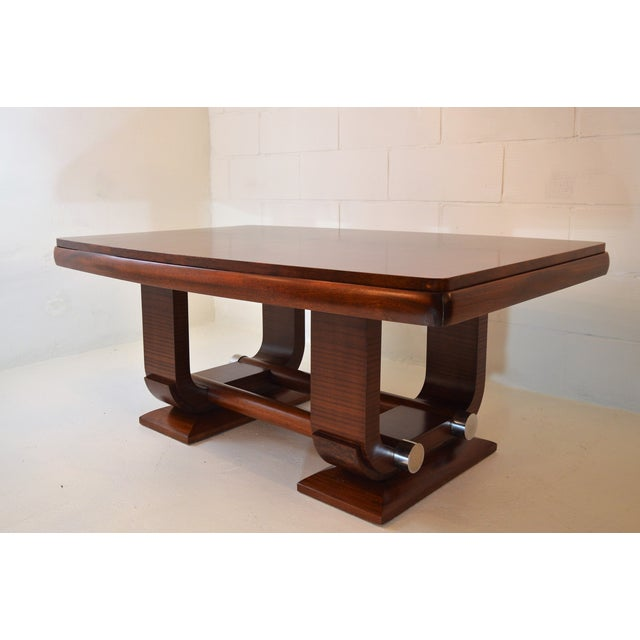 Fabulous Gaston Poisson Art Deco Dining Room Table in Mahogany, 1930. For Sale - Image 6 of 11