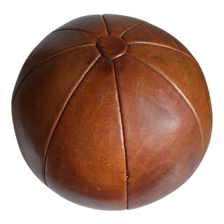 Vintage leather medicine ball by Platura For Sale