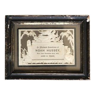 Noah Hussy Framed Death Certificate For Sale