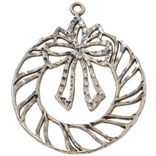 Sterling Christmas Wreath Ornament For Sale