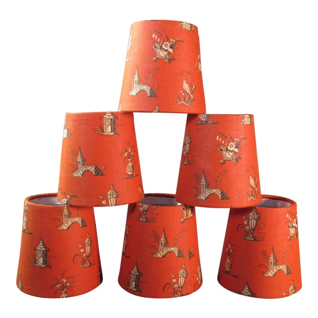 Vintage Fabric Chandelier Shades - Set of 6 For Sale