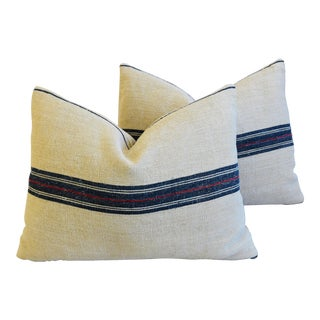 "French Woven Blue & Red Striped Grain Sack Feather/Down Pillows 24"" X 18"" - Pair For Sale"