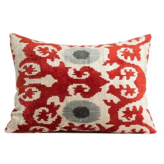 Multi-Colored Handmade Silk Velvet Ikat Pillow