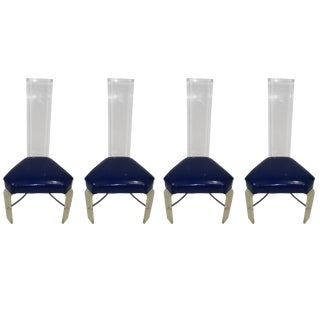 Set of Four Lucite Dining Chairs For Sale