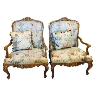Pair of Gilt Wood Louis XV Style Bergeres or Fauteuils in Scalamandre Fabric For Sale