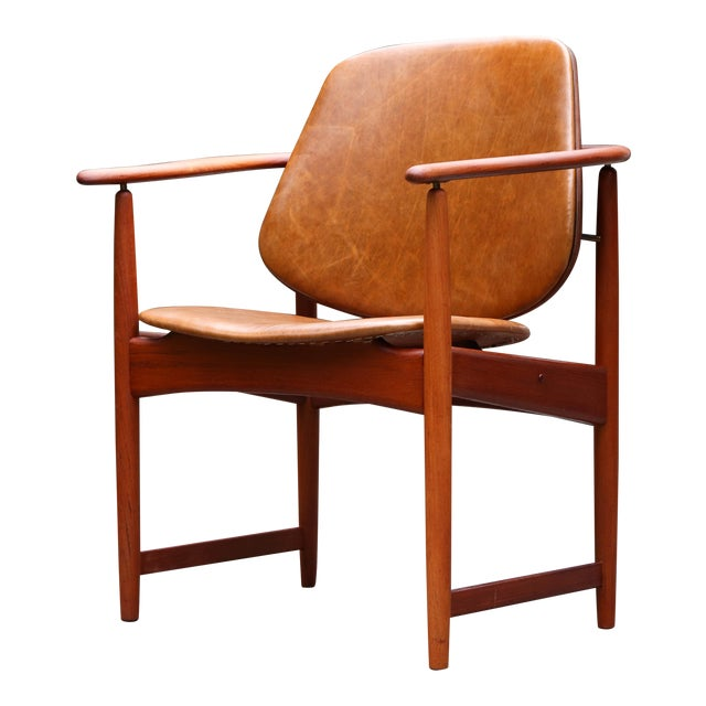 1960s Mid-Century Modern Arne Hovmand Olsen Teak Back Chair For Sale
