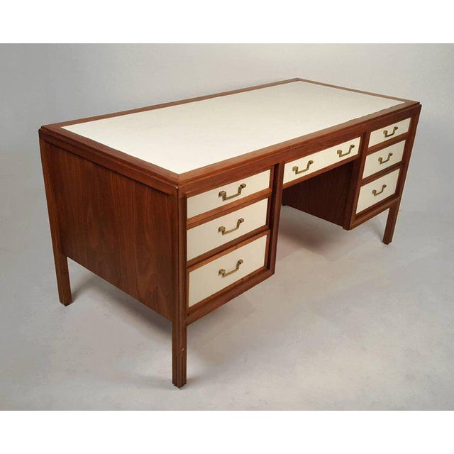 Contemporary Walnut Campaign Desk with Leather Top and Drawers Gerry Zanck For Sale - Image 3 of 9