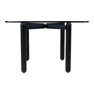 Vintage Mid-Century Modern Small Black Glass Top Dining/Conference Table For Sale