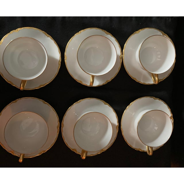 French Hutschenreuter White Porcelain and Gold Cup and Saucers - Set of 6 For Sale - Image 3 of 13