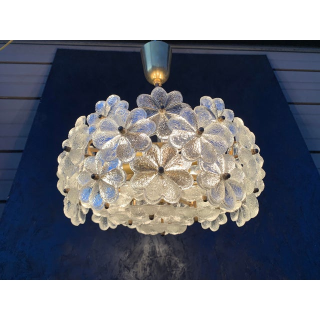 "Small Ernst Palme floral glass chandelier. Requires six E14 base up to 40watt bulbs. We also have 21"" diameter chandelier..."