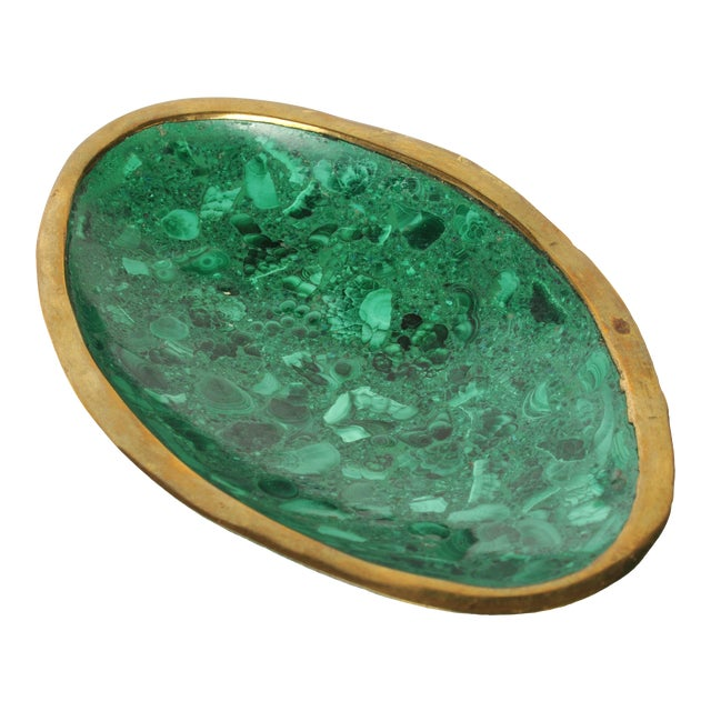 Malachite and Brass Ashtray or Dish For Sale