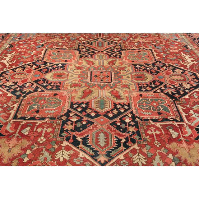 Room Size Antique Persian Heriz Geometric Rug - 11′ × 14′5″ For Sale - Image 12 of 13
