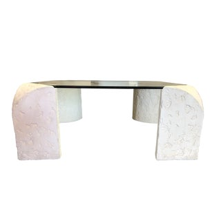 1980's Plaster Coffee Table For Sale