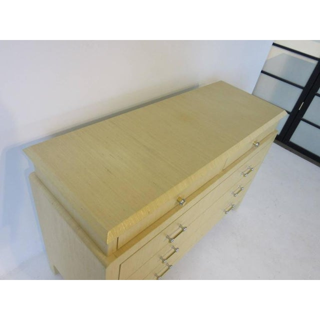 Contemporary Steve Chase Styled Linen Grass Cloth Dresser Commode For Sale - Image 3 of 8