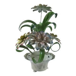 Vintage Hollywood Regency Italy Tole Flower Pot Chrysanthemum Table Lamp For Sale