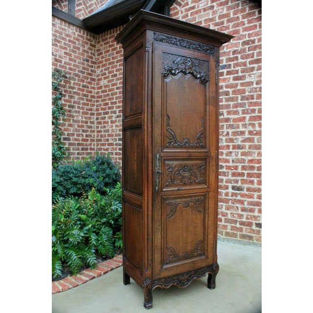 French Country Antique French Country Oak 19th Century Liergues Bonnetiere Cabinet Armoire Wardrobe Bookcase For Sale - Image 3 of 13
