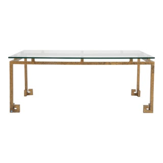 MId-Century Patinated Metal Greek Key Form Low Table For Sale