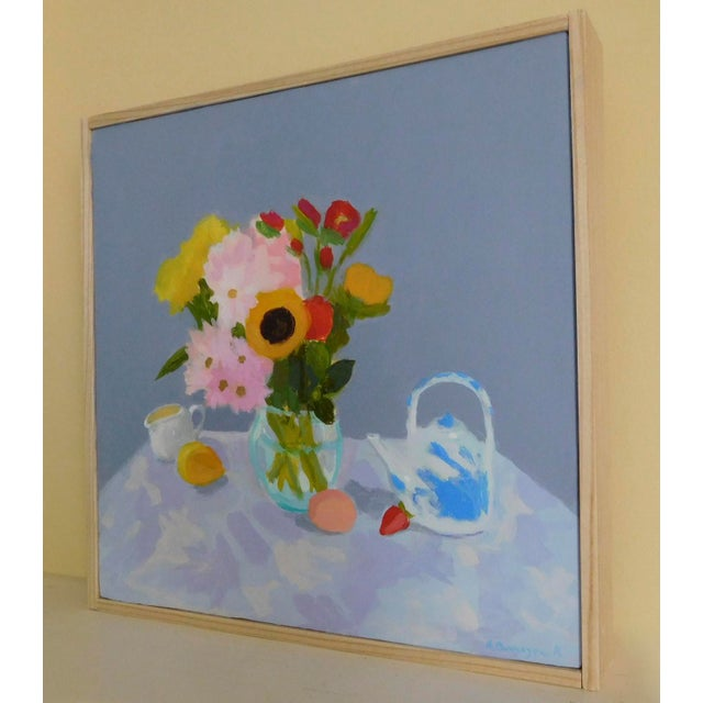 Morning Table. Flowers, fruit, teapot and creamer. I was thinking about Matisse when I painted it. Pops of color held in...