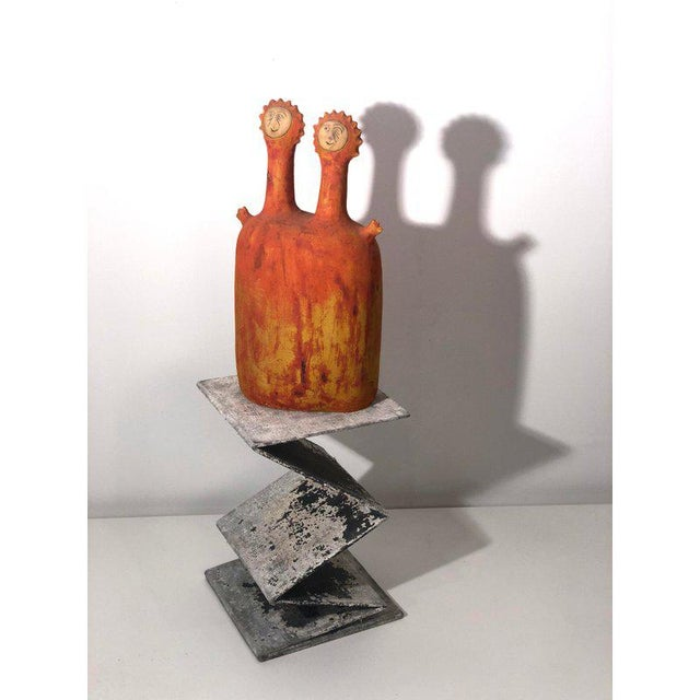 Orange Stan Bitters 'Sun People' Earthenware Sculpture, Signed, Large Example For Sale - Image 8 of 12
