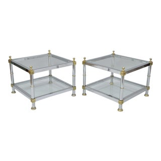Vintage Maison Jansen Hollywood Regency Chrome Brass Glass Square End Tables - a Pair