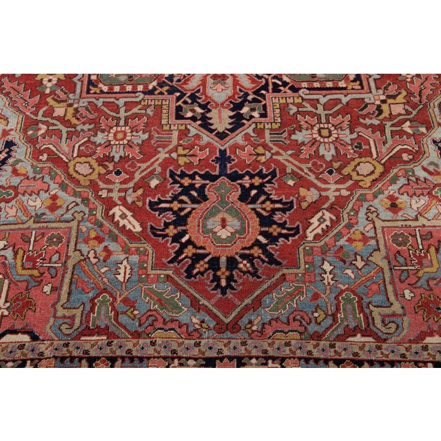 Red Early 20th Century Antique Persian Heriz Wool Rug For Sale - Image 8 of 13