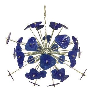 Contemporary Blue Murano Glass Sputnik Chandelier For Sale