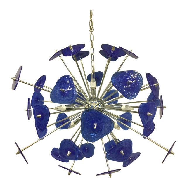 Contemporary Blue Murano Glass Sputnik Chandelier For Sale