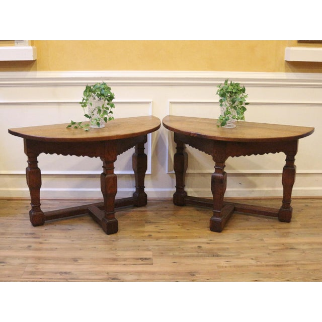 19th Century Country Oak Demi Lune Console Tables - a Pair For Sale - Image 4 of 11