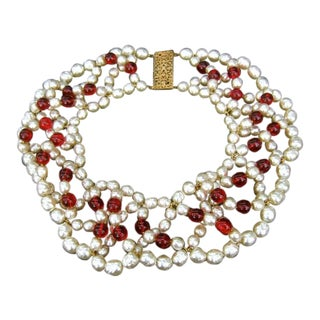 1960 Miriam Haskell Glass Pearl & Ruby Glass Beaded Bib Necklace For Sale