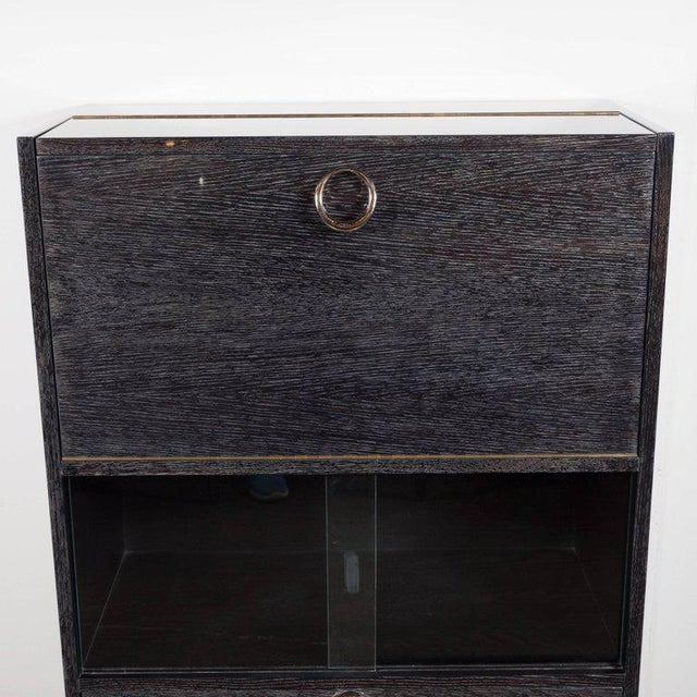 Black Mid-Century Modern Silver Cerused Oak Dry Bar with Nickeled Pulls For Sale - Image 8 of 11