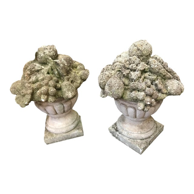 19th Century French Cement Fruit Finials - a Pair For Sale