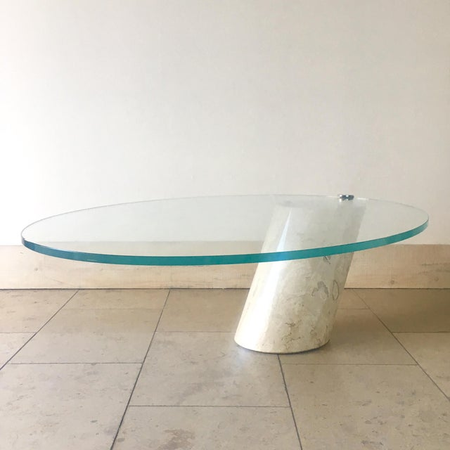 Travertine and Glass Cantilevered Coffee Table 1980s For Sale - Image 4 of 8