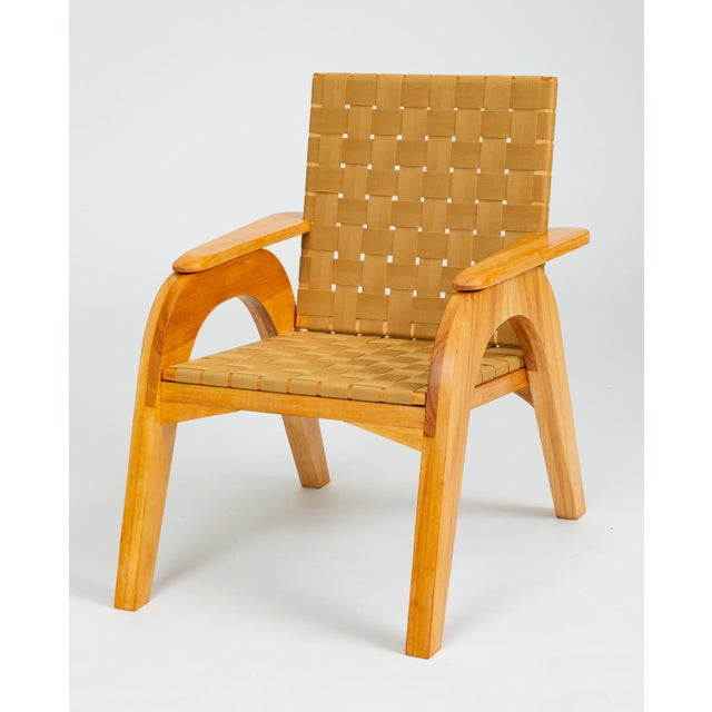 Bauhaus-Style Maple Lounge Chair With Nylon Webbed Seat For Sale - Image 12 of 12